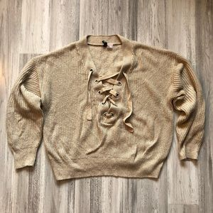 Divided Tan Lace Up Vneck Sweater